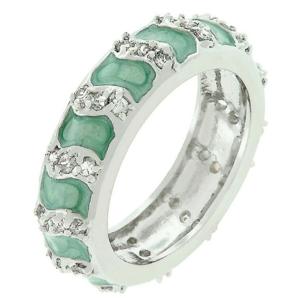 Aqua Eternity Enamel Ring (size: 05)