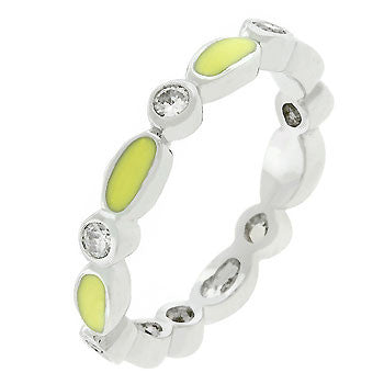 Yellow Link Enamel Stacker Ring (size: 09)
