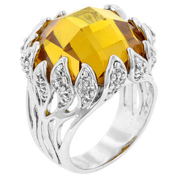Yellow Vintage Cocktail Ring (size: 10)