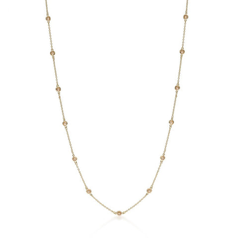 60 Inch Champagne Cubic Zirconia Necklace