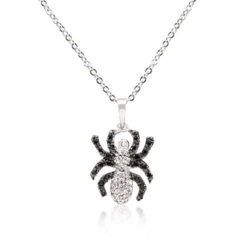Black And White Cz Spider Pendant