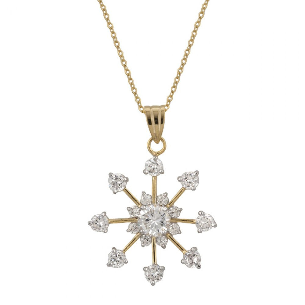 Golden Snowflake Drop Pendant
