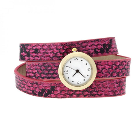 Pink Snakeskin Wrap Watch
