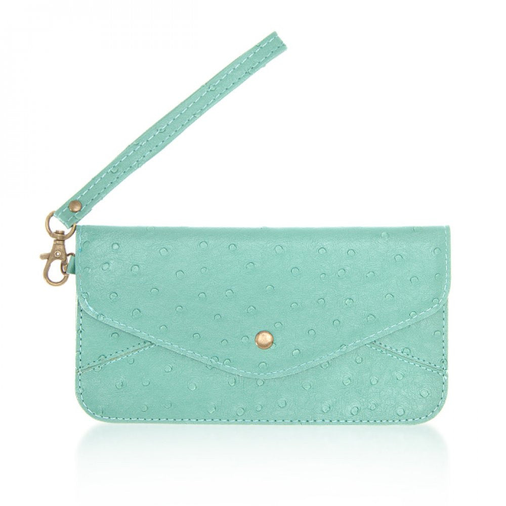 Nyla Teal Faux Leather Clutch