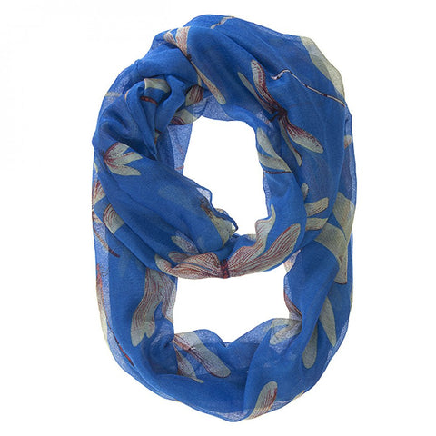Dragonfly Blue Infinity Scarf