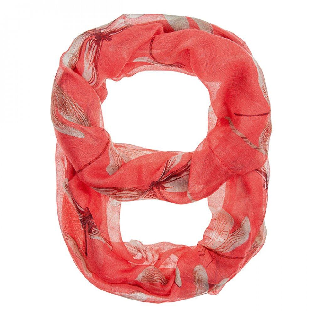Dragonfly Coral Infinity Scarf