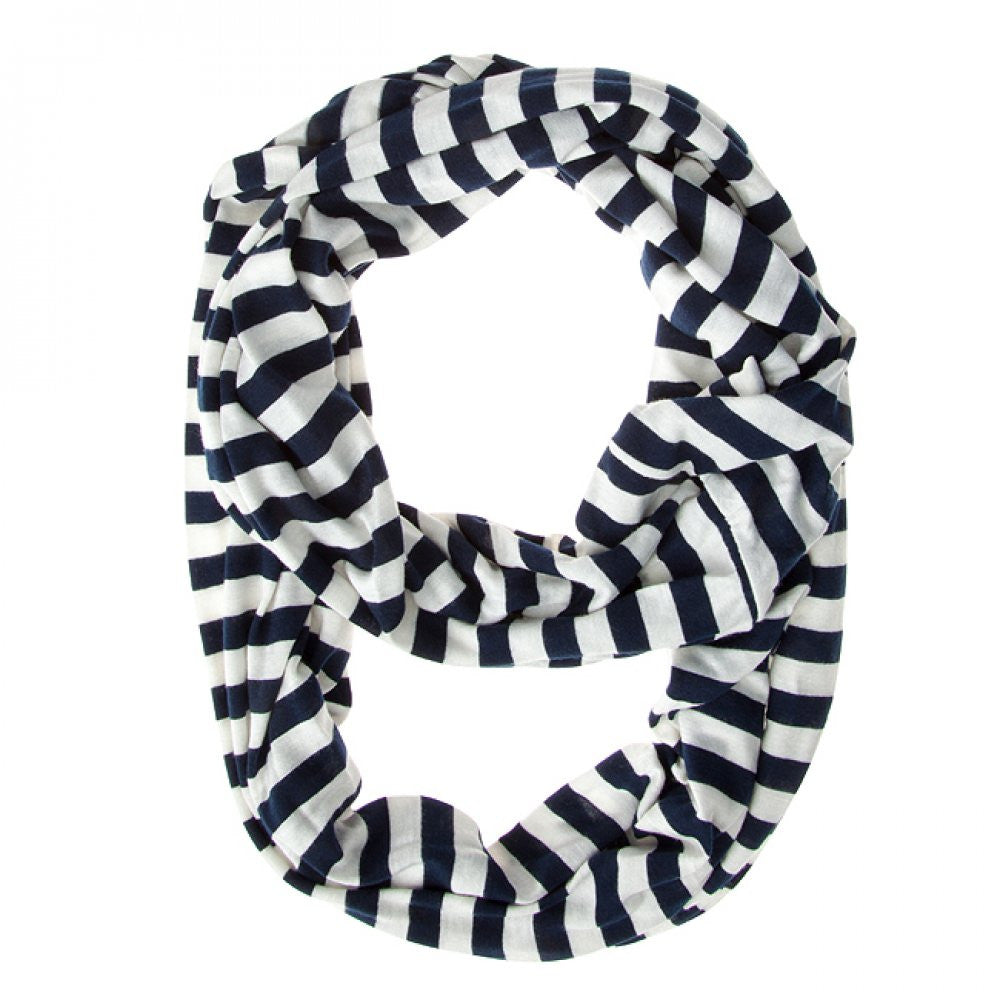 Navy Blue Striped Infinity Scarf