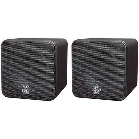 "Pyle Home 4"" 200-watt Mini-cube Bookshelf Speakers (black)"