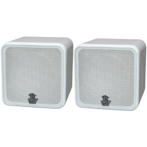 "Pyle Home 4"" 200-watt Mini-cube Bookshelf Speakers (white)"