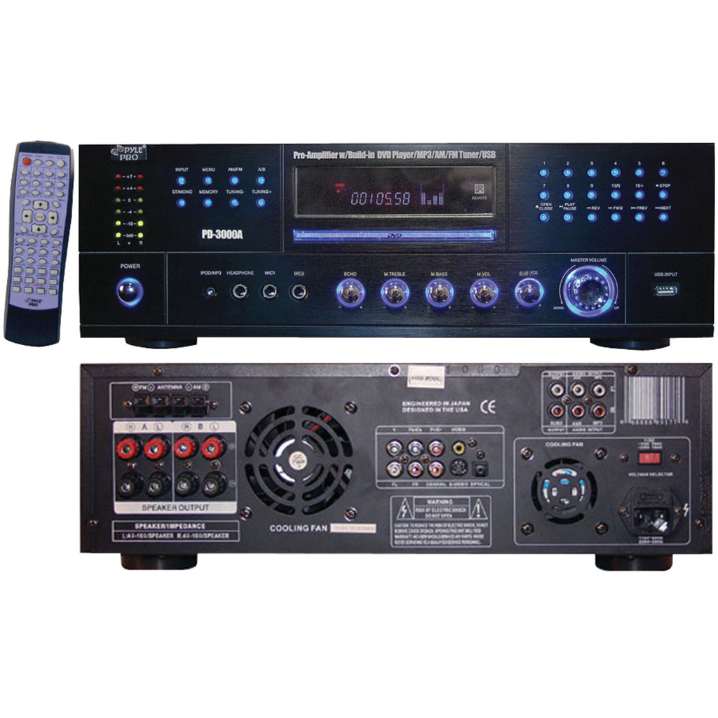 Pyle Home 3000-watt Am And Fm Receiver With Built-in Dvd Mp3 & Usb