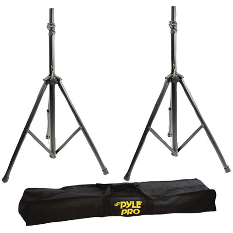 Pyle Pro Heavy-duty Aluminum Anodizing Dual Speaker Stand With Traveling Bag Kit