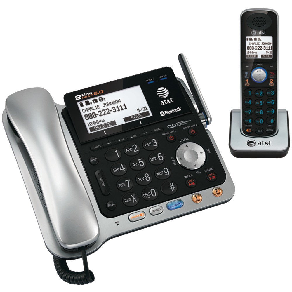 Att Dect 6.0 2-line Corded And Cordless Phone System With Bluetooth (corded Base System & Single Handset )
