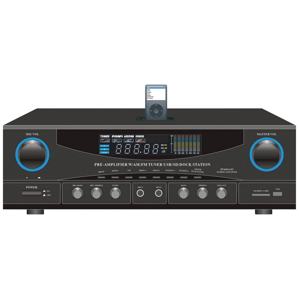 Pyle-home 500-watt Stereo Receiver With Am And Fm Tuner Ipod Dock & Subwoofer Control