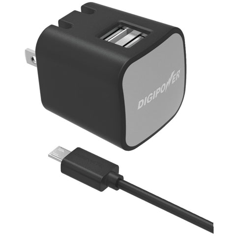 Digipower Instasense 2.4-amp Dual-port Usb Wall Charger With 4.9ft Micro Cable