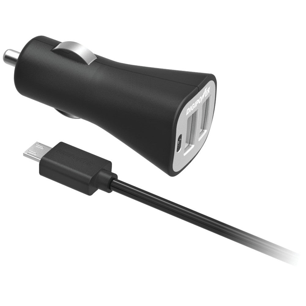 Digipower Instasense 2.4-amp Dual-port Usb Car Charger With 4.9ft Micro Cable