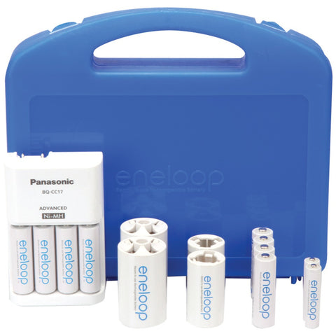 Panasonic 4-position Charger With Eneloop 2 Aaa & 8 Aa Batteries & 2 C & 2 D Spacers