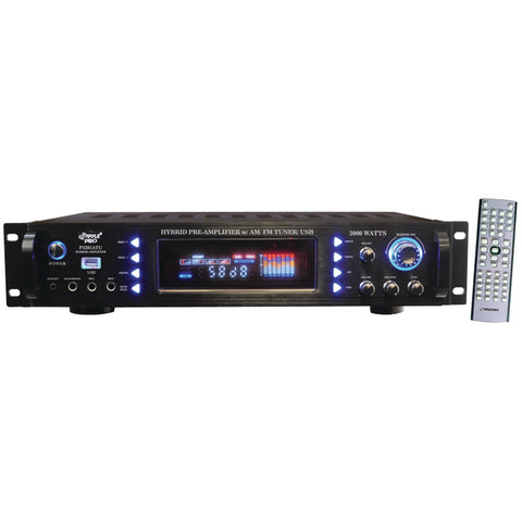Pyle 3000w Hybrid Home Stereo Receiver Amplifier With Am And Fm Tuner & Usb