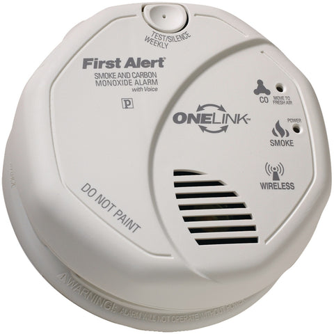 First Alert Onelink Battery Operated Combination Smoke & Carbon Monoxide Alarm With Voice Location