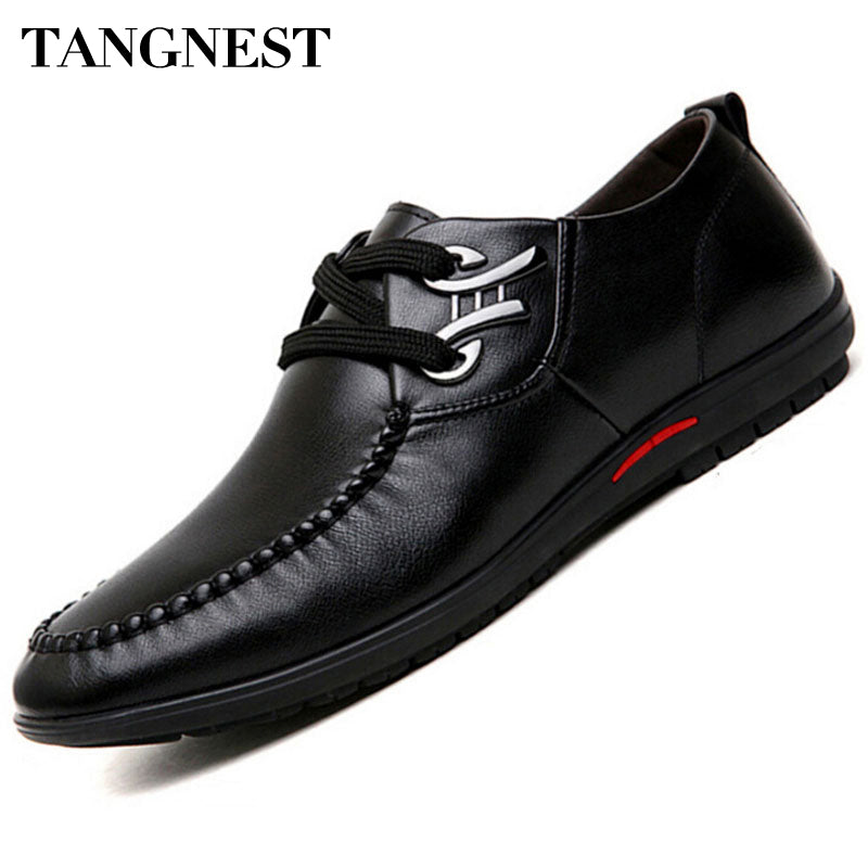 Tangnest Men Loafers 2017 New Lace-up Business Flats Cow Split Leather Male's Dress Shoes British Style Shoes Size 37~45 XMR1882