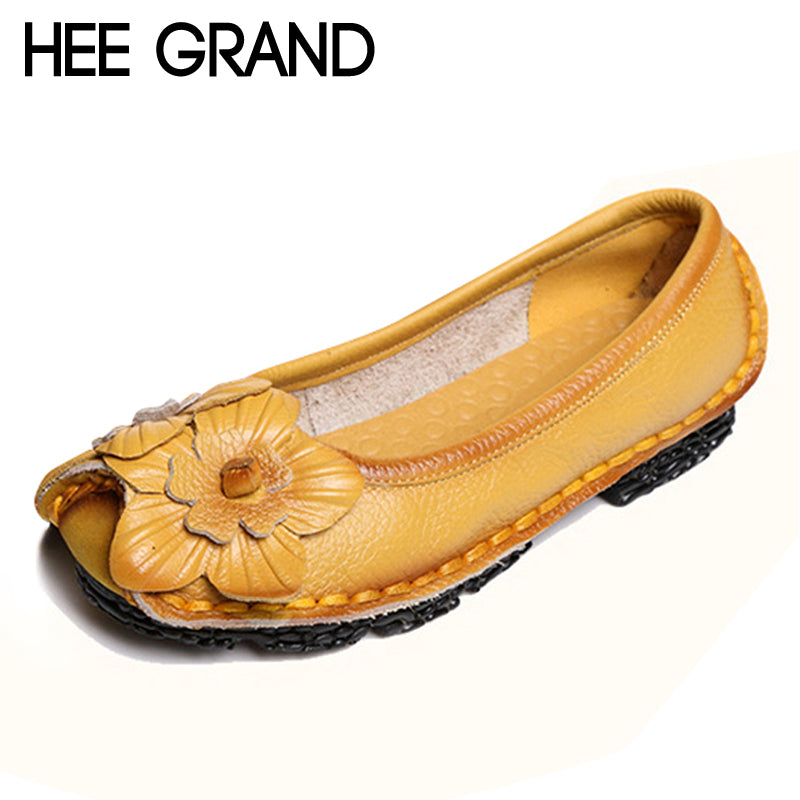 HEE GRAND Genuine Leather Loafers Flowers Creepers Platform Shoes Woman Slip On Flats Soft Moccasin Casual Women Shoes XWD4111