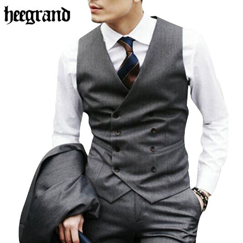 HEE GRAND 2017 Men Fashion Cotton Vests Slim High Quality Leisure Plus Szie Men Casual Vests MWB184
