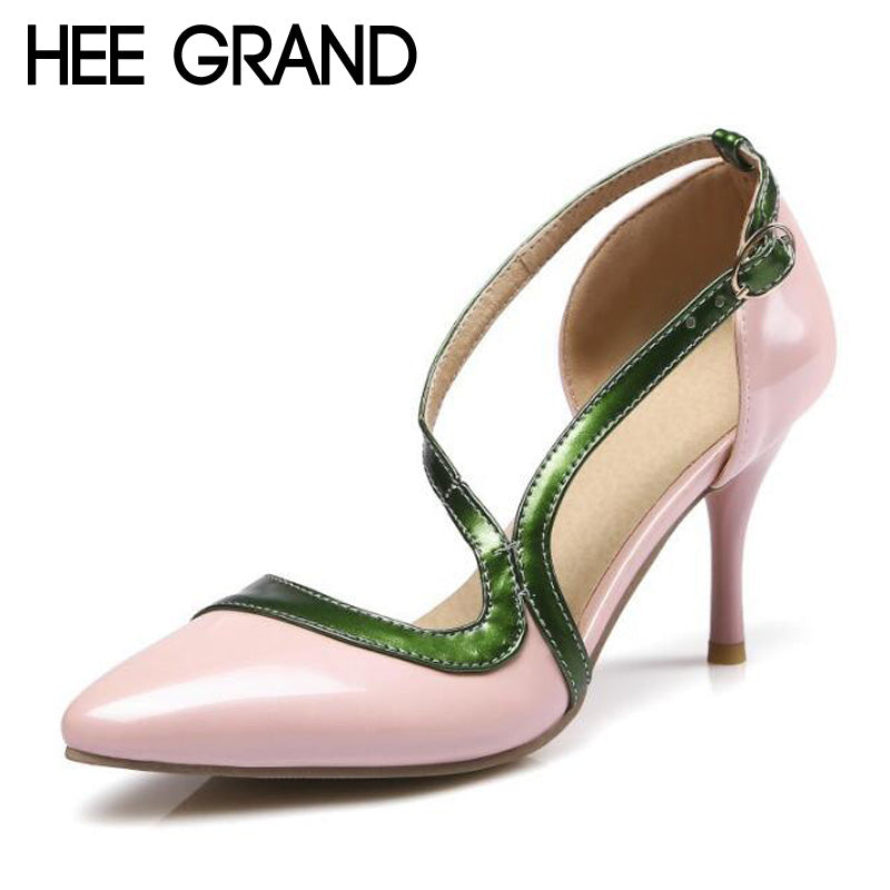 HEE GRAND 2017 High Heels Summer Casual Gladiator Sandals Sexy Elegant Wedding Shoes Woman Pointed Toe Pumps 4 Colors XWZ3400