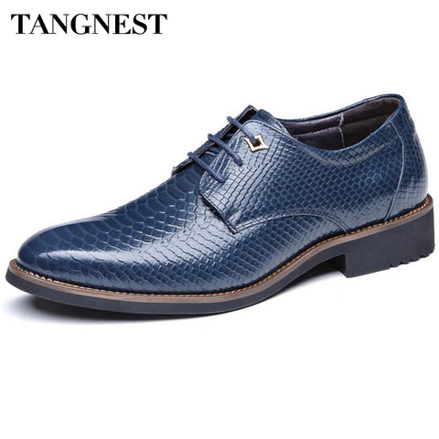 Tangnest 2017 New Men Wedding Shoes Fashion Pointed Toe Lace-up Male's Flats Soft Leather Dress Shoes Man Size 37~44 XMP524