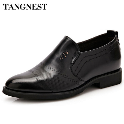 Tangnest Luxury Brand Men Oxford Flats Pu Leather Male's Elevator Shoes Solid Slip-on Men Formal Dress Shoes Size 37~44 XMP643