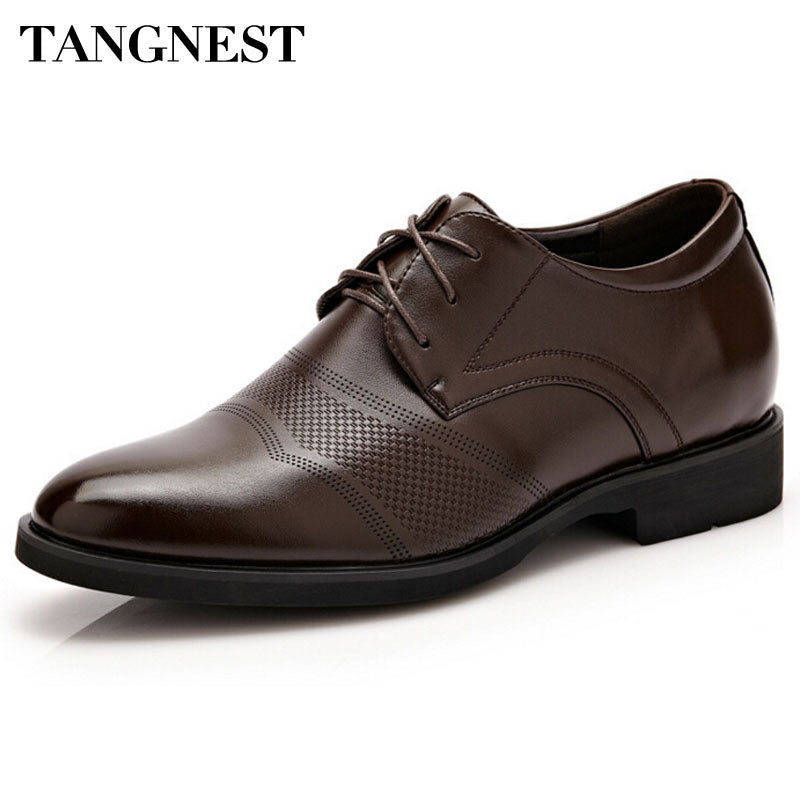 Tangnest Men's Shoes 2017 Autumn New Cut-out Business Flats For Male Pu Leather Inner Height Dress Shoes Man Size 37-44 XMP568