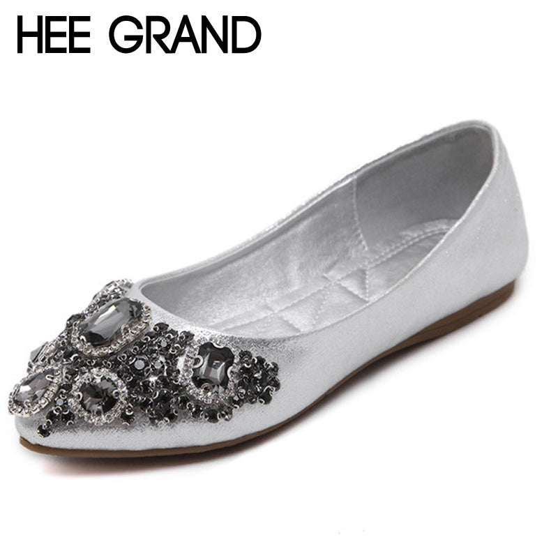 HEE GRAND Crystal Ballet Flats 2017 New Bling Loafers Silver Casual Shoes Woman Slip On Pointed Toe Women Flat Shoes XWD5613