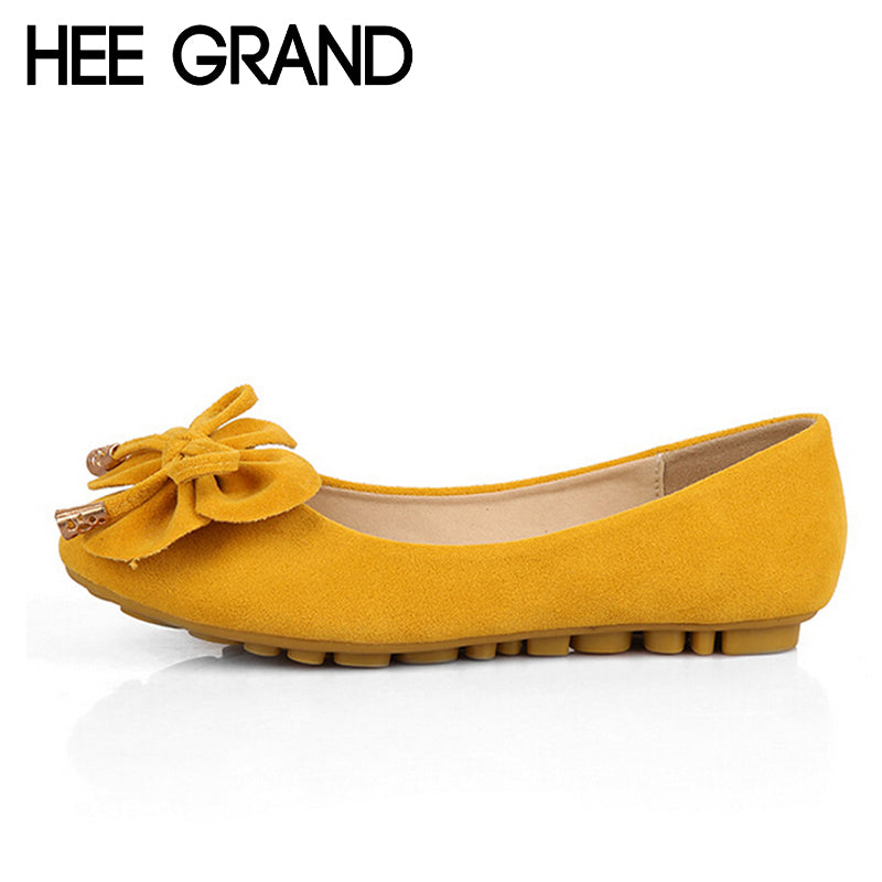 HEE GRAND Women Flats 2017 Summer Bowtie Ballet Flat Shoes Women Fashion Slip On Comfortable Loafers Size Plus 35-43 DWD2662