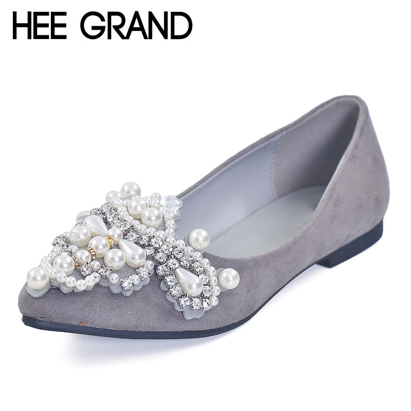 HEE GRAND Pearl Ballet Flats 2017 Crystal Loafers Bling Slip On Platform Shoes Woman Pointed Toe Women Shoes Size 35-43 XWD4960