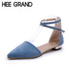 HEE GRAND Women Pumps Solid Plain Ankle Strap Buckle Low Heels Shoes Woman Summer Pointed Toe Casual Shoes Size 35-39 XWD3472