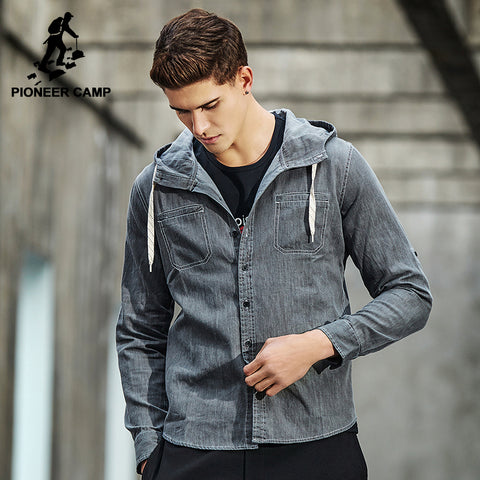 Pioneer Camp New design hoodie shirt men brand-clothing fashion solid denim shirt male top quality casual shirts ACC701028