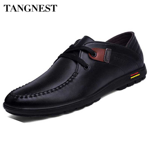 Tangnest Men Casual Flats 2017 New Spring Round Toe PU Leather Shoes Man Lace Up Business Shoes Comfortable Flats Male XMR2428