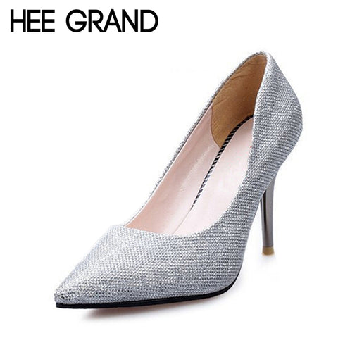 HEE GRAND Silver Shoes Woman Glitter Bling Thin High Heels Pumps Gold Women PU Leather Shoes For Spring Size 35-39 XWD1898