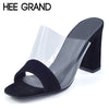 HEE GRAND Summer Sandals Transparent Mules 2017 New Sexy High Heels Casual Shoes Woman Fashion Pumps XWZ3458