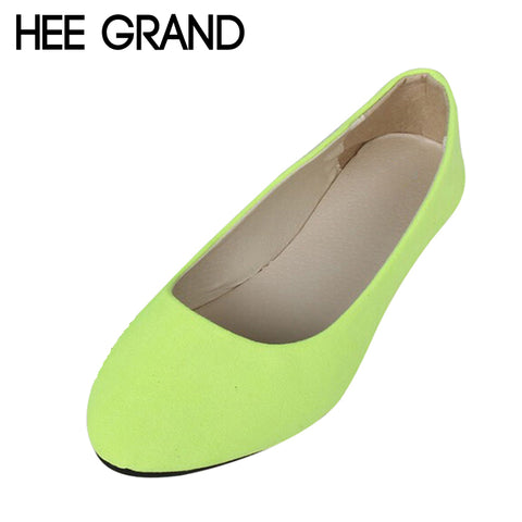 HEE GRAND Flock Women's Flats For 2017 New Summer Slip-On Round Toe Casual Flat Shoes Basic Shoes Woman Size Plus 39-41 XWD1615