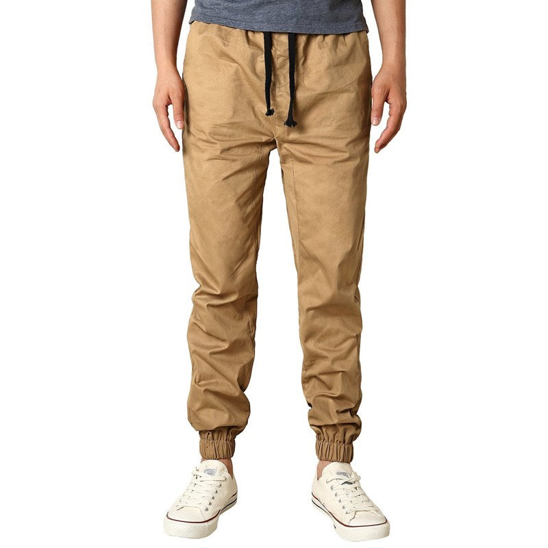 2017 Spring Summer Mens Lace Up Drawstring Fit Trousers Haren Pockets Casual Loose Solid Cargo Long Pants