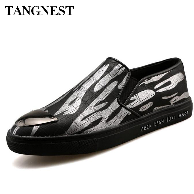 Tangnest New Fashion British Style Men Loafers Man Casual Artificial PU Leather Shoes Metal Toe Slip On Mans Flats Shoe XMR2180