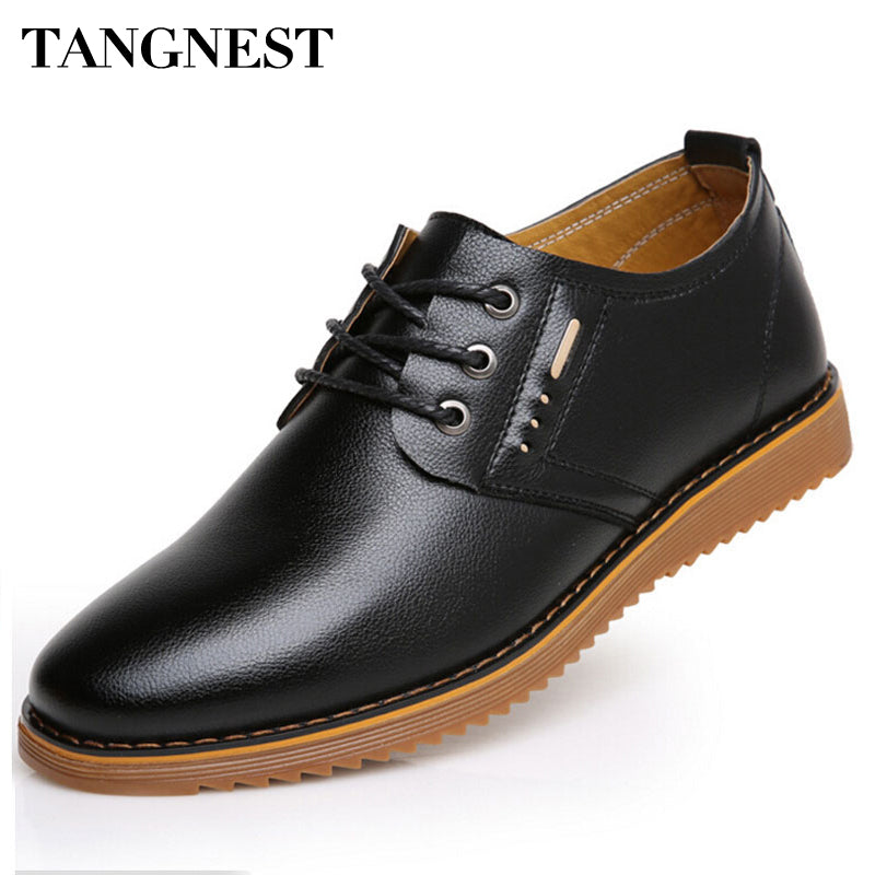 Tangnest New 2017 Men Casual Shoes Solid Lace Up Oxford Shoes Men Formal Business Shoe Classic Handmade Leather Flat Man XMR2057