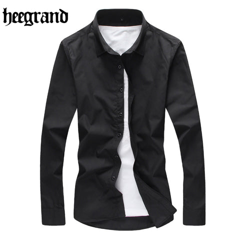 HEE GRAND 2017 Plus Size Man Full Sleeve Shirts Turn-down Collar Business Shirts 16 Color Men Casual Shirt MCL1925