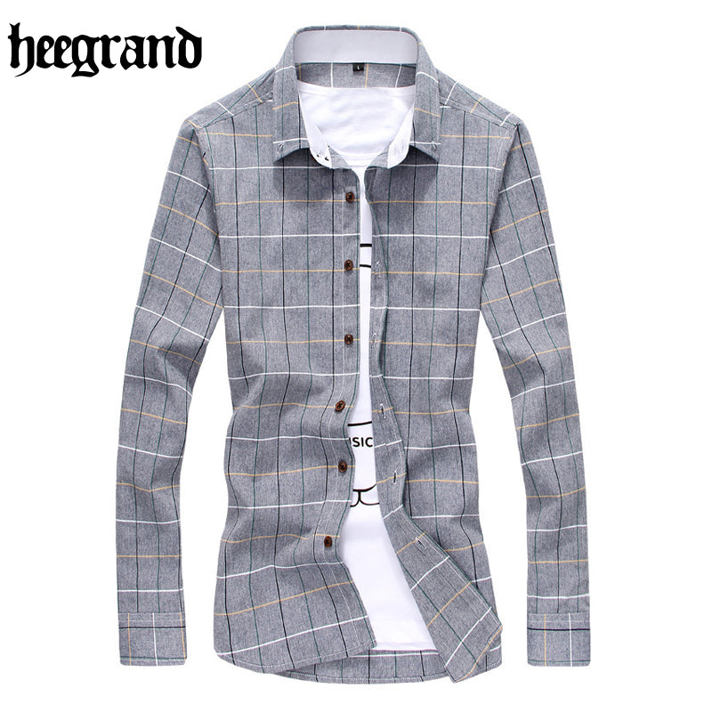 HEE GRAND 2017 Spring Fashion Men Shirts Breathable Solid Plus Size Casual Long Sleeve Male Shirt MCL1916