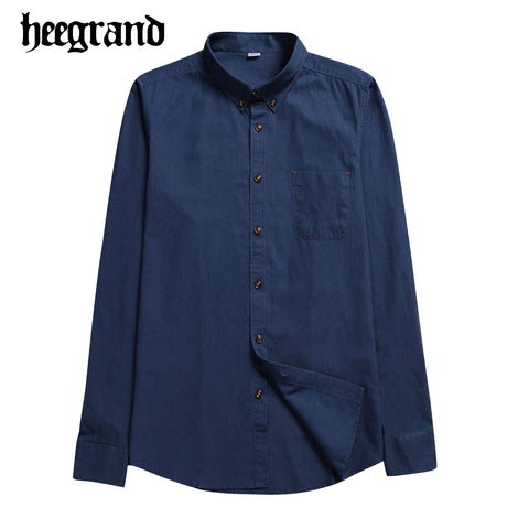 HEE GRAND 2017 New Spring Man Classic Simple Square Collar Casual Shirt Men's Solid Color Long Sleeve Shirts MCL1845
