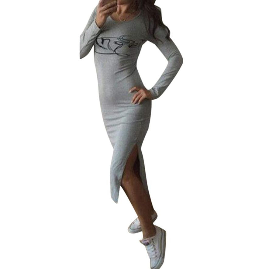 JECKSION women winter dresses 2016 long sleeve With Wings Cotton Slim Dress Grey Black O-Neck women clothes #LYW