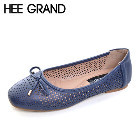 HEE GRAND Summer Ballet Flats 2017 Breathable Loafers Hollow Casual Platform Shoes Woman Slip On Women Shoes Size 35-41 XWD5544