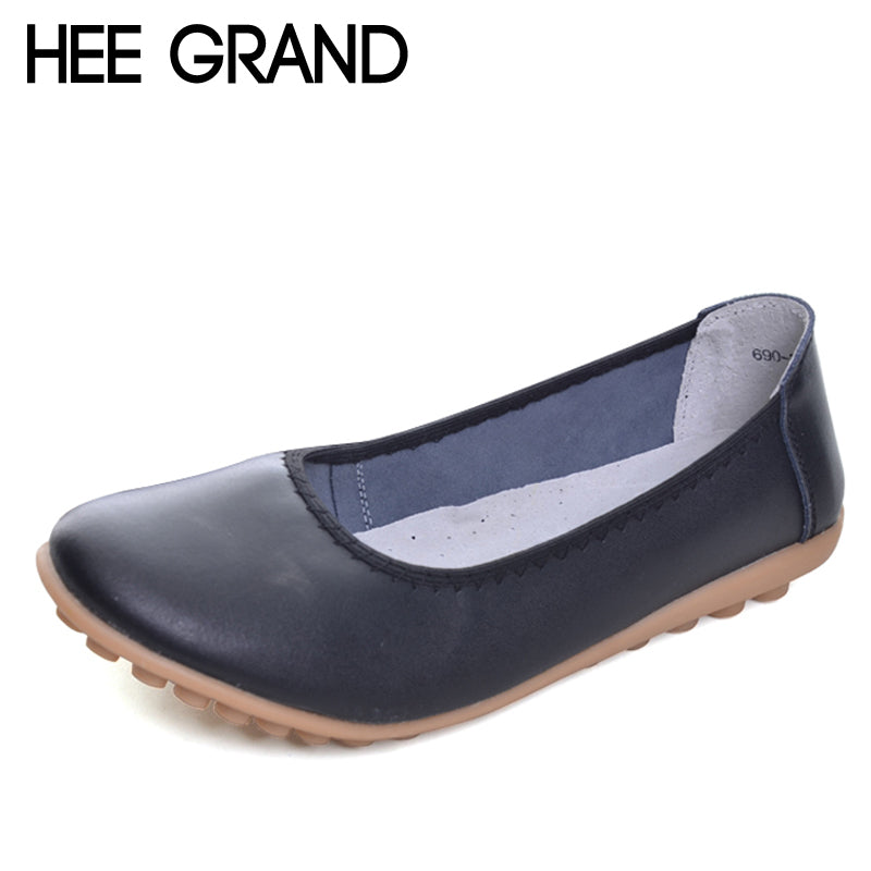 HEE GRAND 2017 New Flats Solid Plain PU Slip On Loafers Casual Shoes Woman Summer Women Shoes 5 Colors Size 35-40 XWD2007