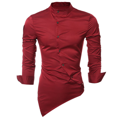 2017 Autumn Stylish Men Shirts Brand New Male Stand Collar Long Sleeve Asymmetrical Hem Slim Fit Solid Shirt Camiseta Plus Size