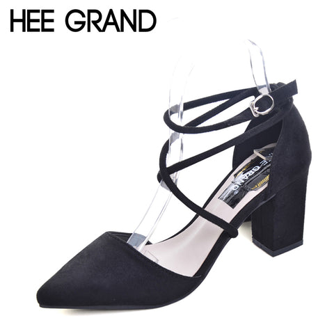 HEE GRAND Cross-tied Women Sandals Summer Sexy Square High Heels Flock Wedding Shoes Woman Elegant Pumps Ladies 3 Colors XWZ2049