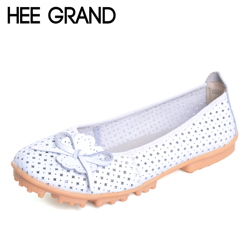 HEE GRAND Summer Style Loafers Split Leather Flats Shoes Woman Slip On Moccasin With Flowers Cut-Out Soft Women Shoes XWD3062